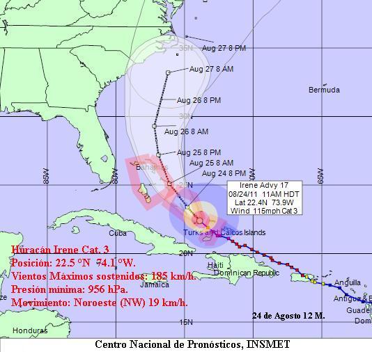 Aviso de Ciclón Tropical: Irene avanza hacia las Bahamas centrales y se aleja gradualmente de Cuba