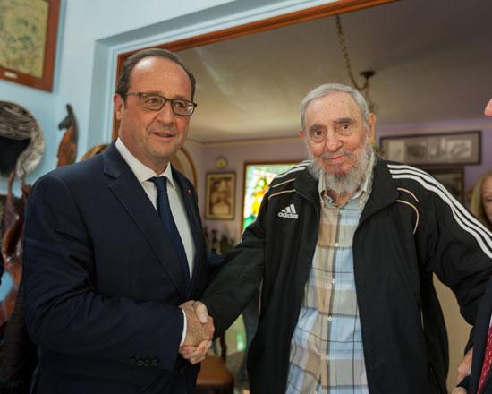 #Cuba Visitó a Fidel el presidente de Francia.  Hollande fue recibido por Raúl Castro