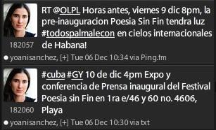 Mensajes de Yoani Sánchez en la red social Twitter en que con  apenas 4 minutos de diferencia vincula el
