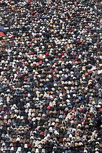 <p>Rezo en la plaza Tahrir</p>