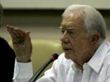 Conferencia de prensa, de James Carter, expresidente Norteamericano, en el Palacio de Convenciones.